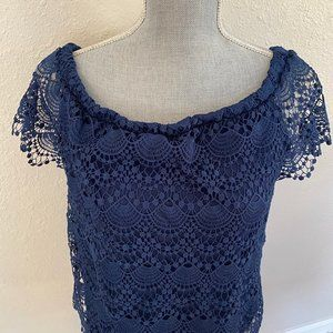 a.n.a. Short Sleeve Blue Lace Top
